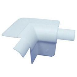 Raccordo in PVC di 2 angoli arrotondati esterni e 1 angolo di 90° interno Bianco