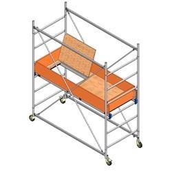 Ponte a torre su ruote per interni (base 75x165cm) H max. 200cm, H max.Piano di lavoro 100cm.