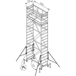 Ponte a torre su ruote per interni ed esterni (base 75x165cm) H max. 710cm, H max.Piano di lavoro 600cm.