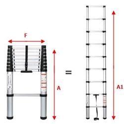 Scala in alluminio telescopica Gradini 13 Dim.(A82, A1380, F50) cm